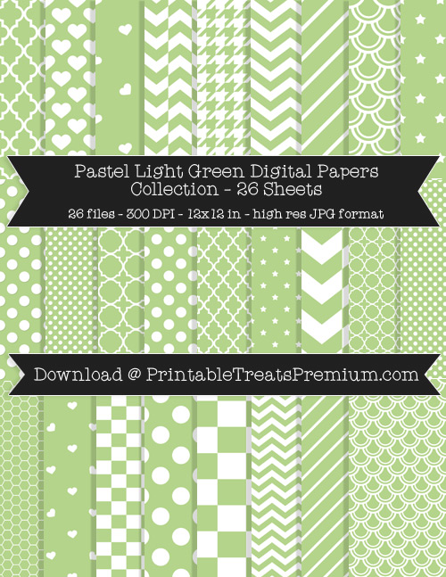 26 Pastel Light Green Digital Papers Collection